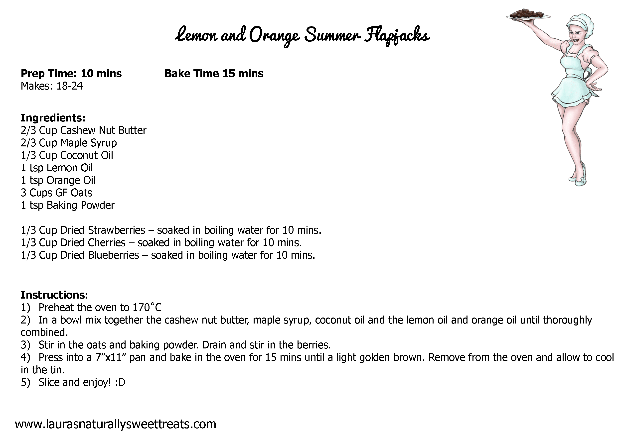 lemon and orange summer flapjacks bars recipe card