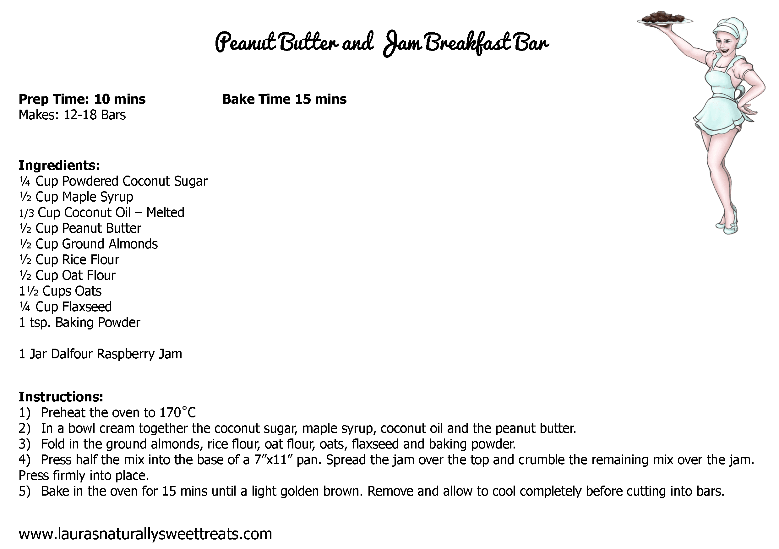 peanut butter and jam breakfast bar recipe card