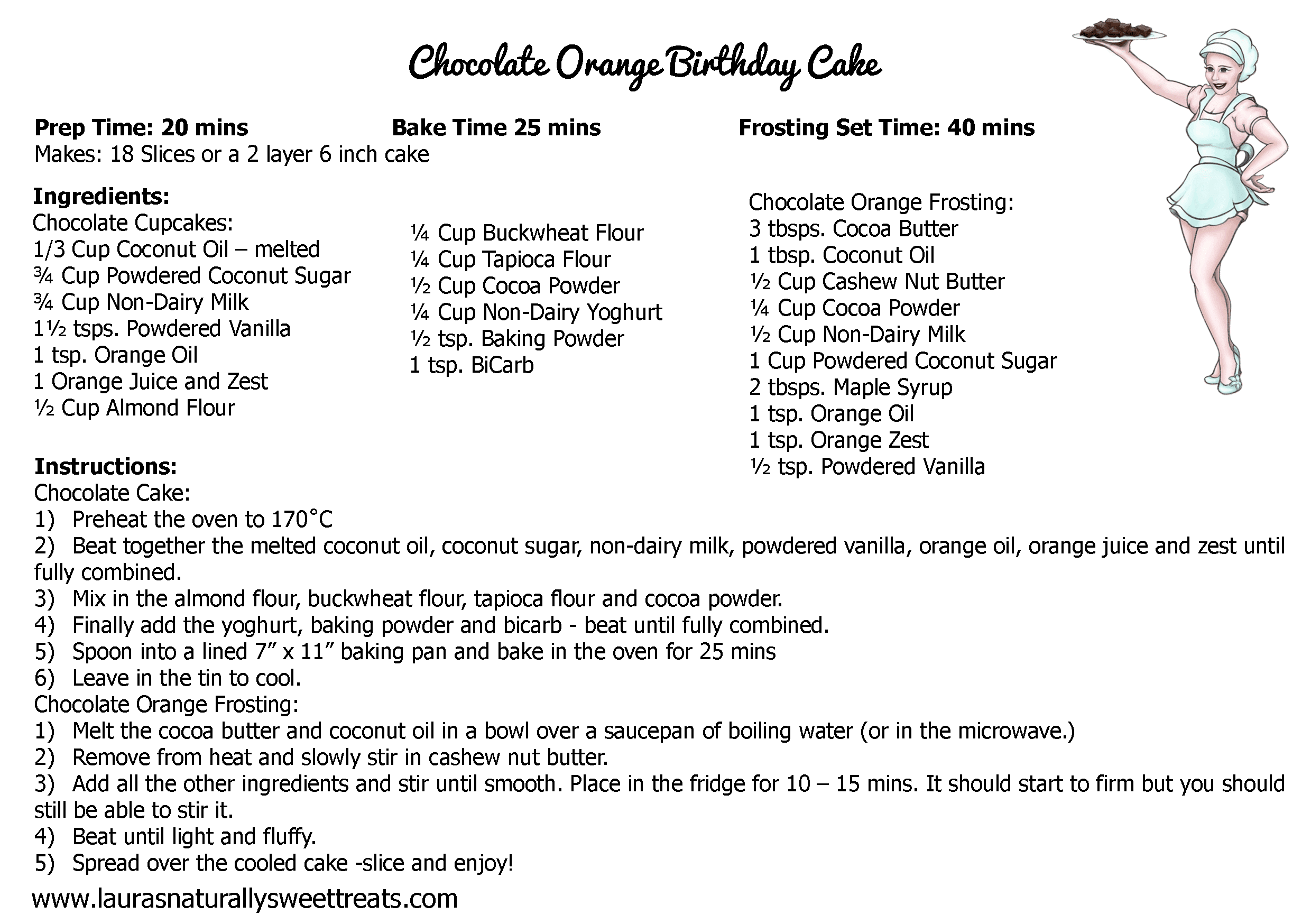 chocolate orange birthday cake recipe card