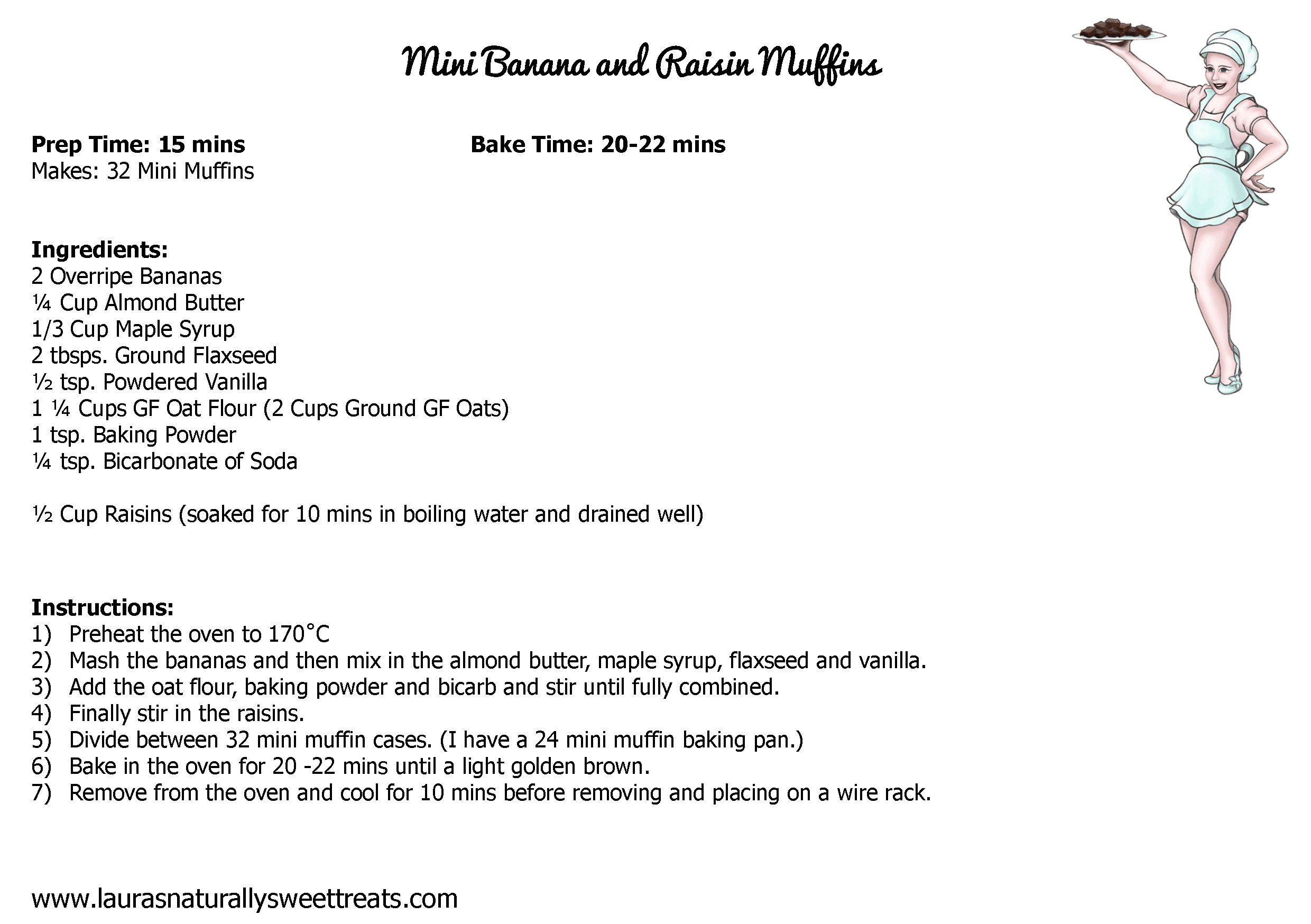mini banana and raisin muffins recipe card