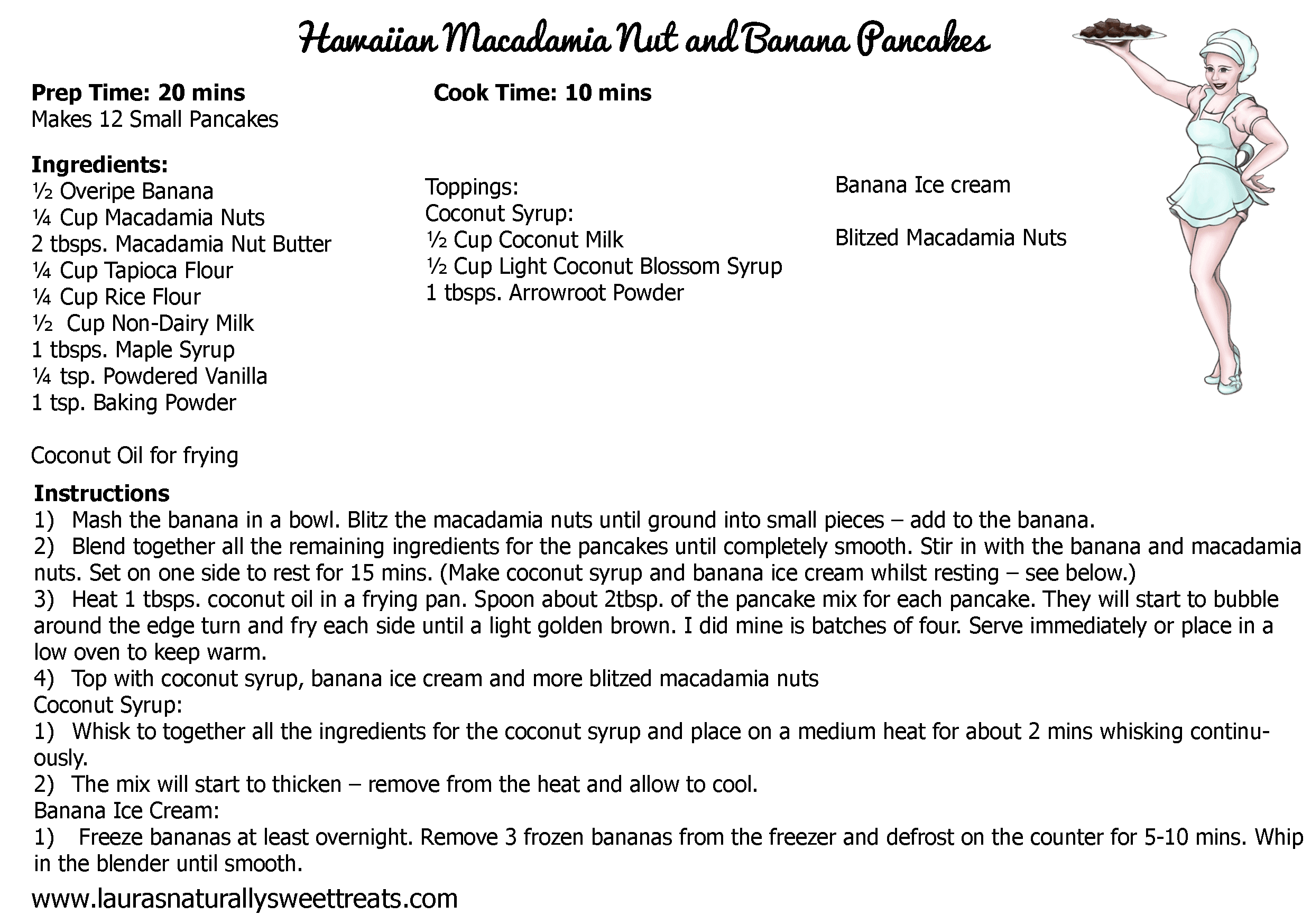 hawaiian macadamia nut and banana pancakes recipe card