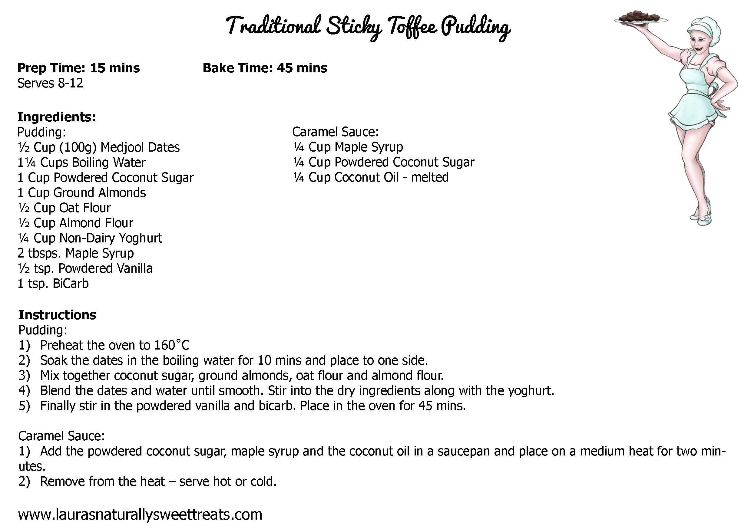 traditional sticky toffee pudding recipe card