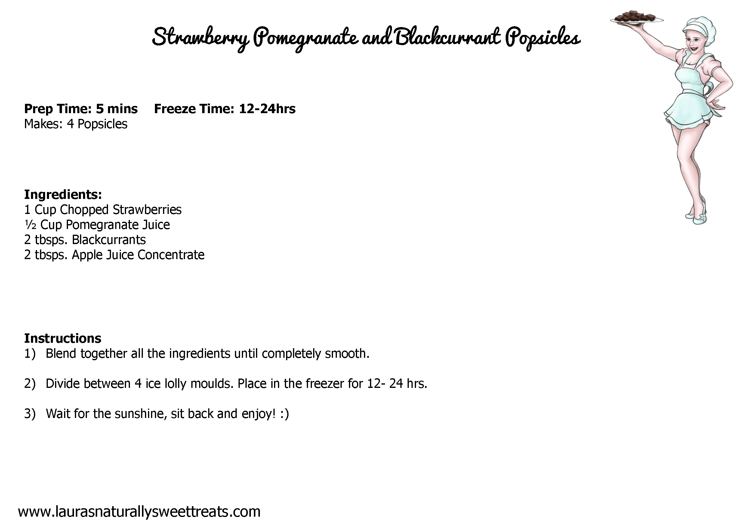 strawberry pomegranate and blackcurrant popsicles recipe card