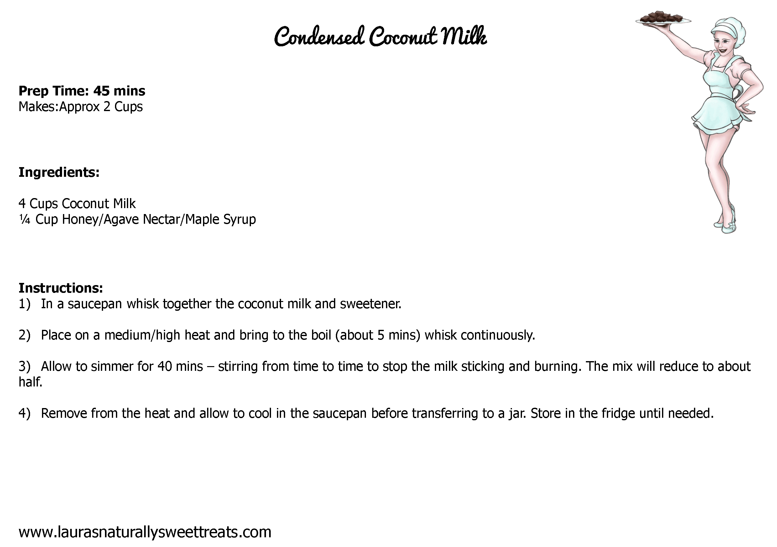 condensed coconut milk recipe card